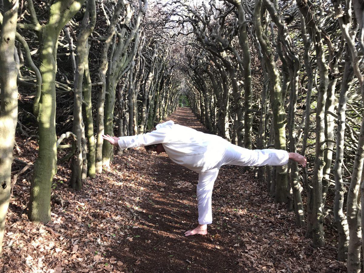 yoga door een man, een mooie balans