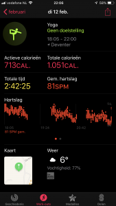apple watch yoga, een avond yoga