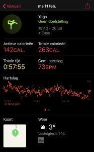 iwatch yoga, activiteit app op iwatch
